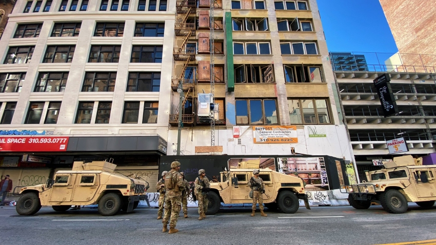 California National Guard members in downtown Los Angeles