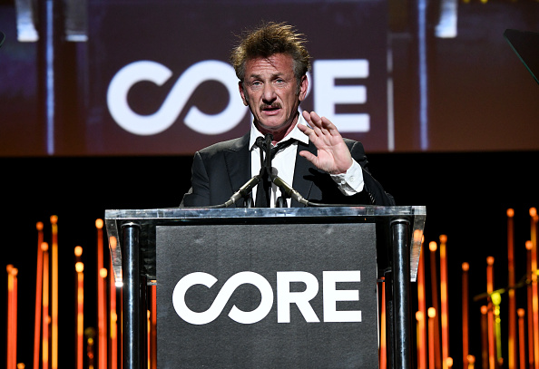 Sean Penn speaks onstage