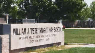A high school sign in Palmdale
