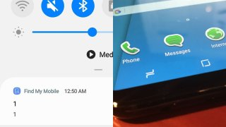 """A screenshot shows the """"find my mobile"""" notification that many Samsung users received Thursday morning. Right: a generic picture of a Samsung phone."""