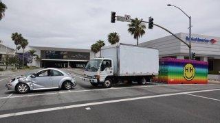 trucks barricade Torrance mall