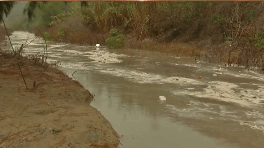 A photo of toxic runoff flowing in the Tijuana River Valley.