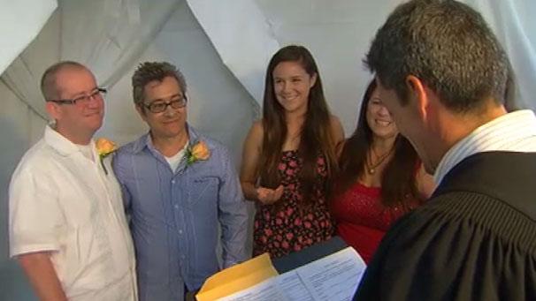 same sex marriage ceremony ukulele in Hollywood