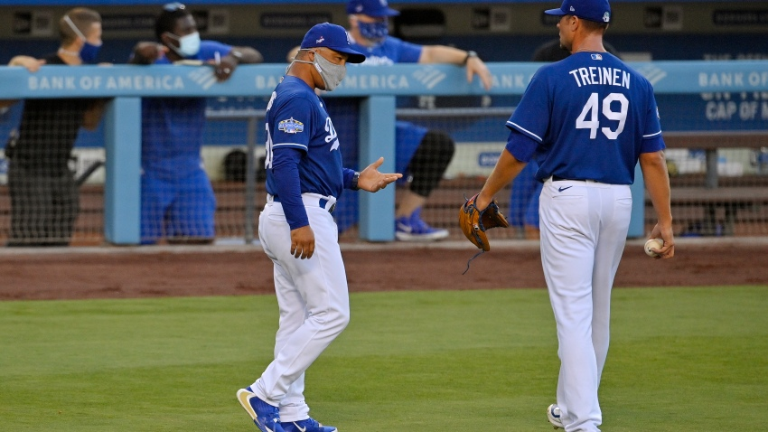 In this July, 8, 2020, file photo, Los Angeles Dodgers manager Dave Roberts, left, talks with relief pitcher Blake Treinen during an intrasquad baseball game in Los Angeles.