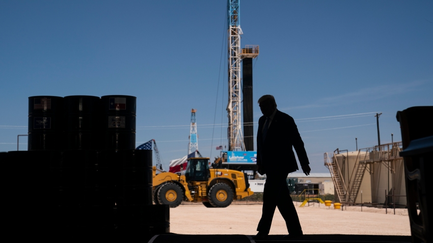 President Donald Trump arrives to deliver remarks about American energy production during a visit to the Double Eagle Energy Oil Rig, Wednesday, July 29, 2020, in Midland, Texas.