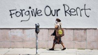 Graffiti supporting the rent strike appear on La Brea Avenue.