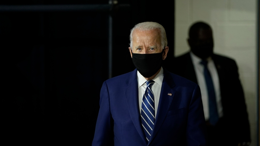 Democratic presidential candidate former Vice President Joe Biden arrives to speak about economic recovery during a campaign event at Colonial Early Education Program at the Colwyck Center on July 21, 2020 in New Castle, Delaware.
