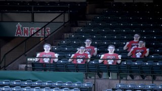 Cutouts of fans were placed in some seats during The Los Angeles Angels of Anaheim.