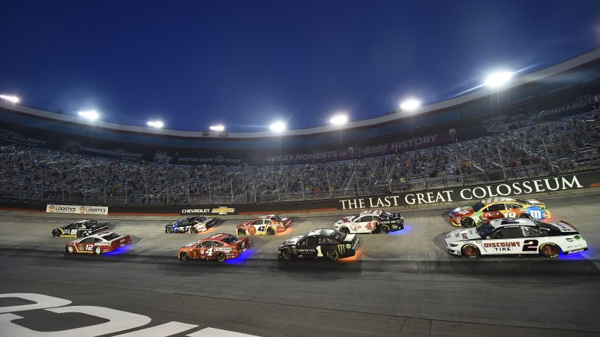 BRISTOL, TENNESSEE - JULY 15: Alex Bowman, driver of the #88 ChevyGoods.com/Adam's Polishes Chevrolet, Ryan Blaney, driver of the #12 BodyArmor Ford, Kevin Harvick, driver of the #4 Busch Light Apple Ford, and Kurt Busch, driver of the #1 Monster Energy Chevrolet, race during the NASCAR Cup Series All-Star Race at Bristol Motor Speedway on July 15, 2020 in Bristol, Tennessee.