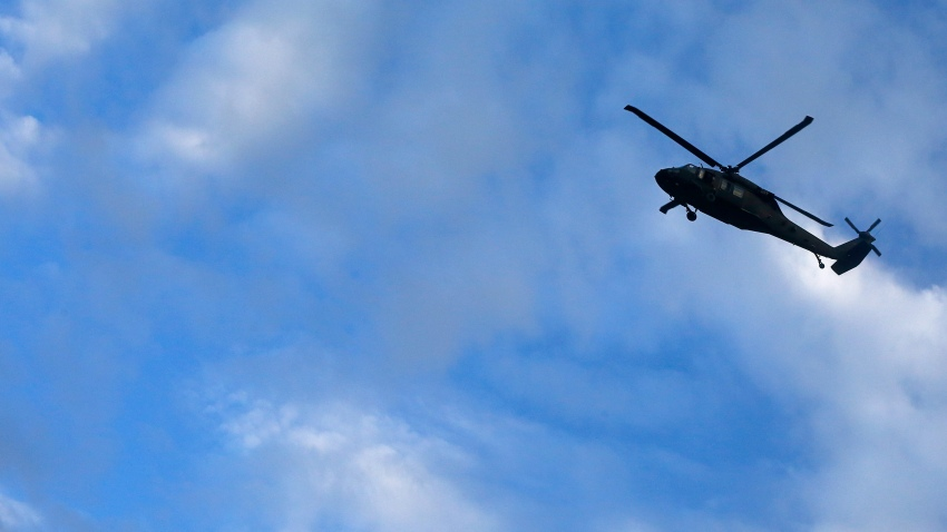 A US Army Sikorsky UH 60 Black Hawk helicopter flies over Kabul.