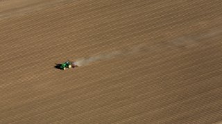 An aerial view of a farm field in California's Central Valley.