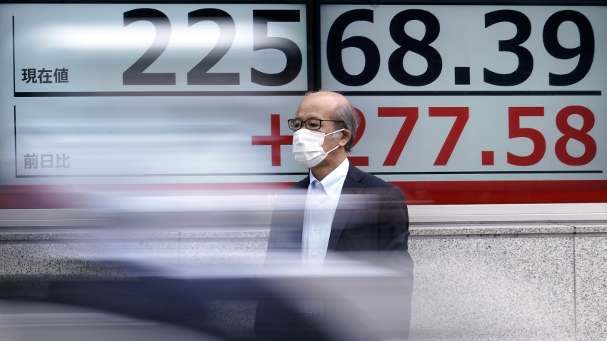 A man wearing a face mask to help curb the spread of the coronavirus stands near an electronic stock board showing Japan's Nikkei 225 index at a securities firm in Tokyo Monday, July 13, 2020. Asian shares rose Monday, cheered by recent upbeat projections on a global rebound tempered with worries about disappointment that could follow.