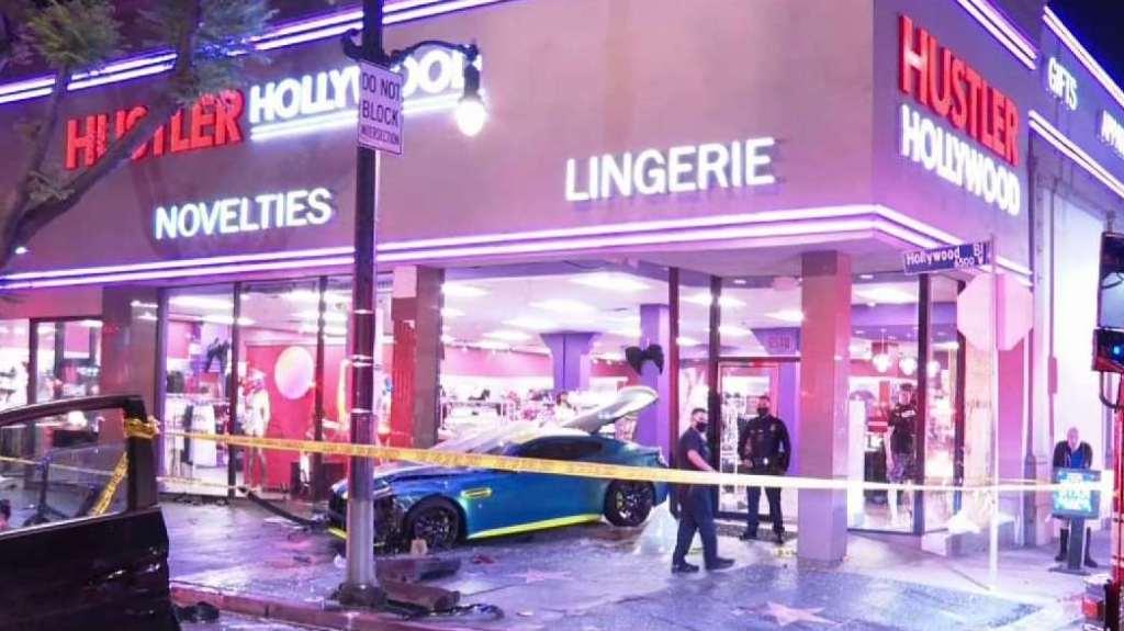 Aftermath of a car crash in Hollywood.