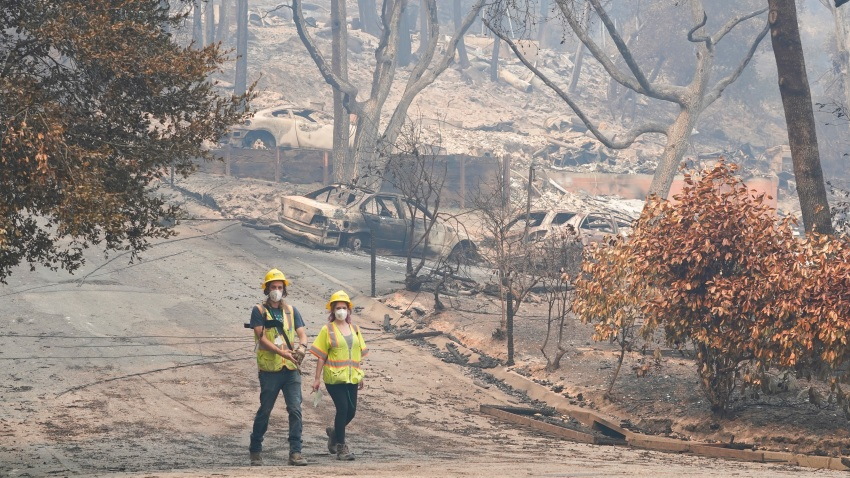 Workers with Davey Resource Group asess the damage to the trees in a neighborhood Tuesday, Aug. 25, 2020, in Boulder Creek, Calif., after the the CZU August Lightning Complex Fire passed by.