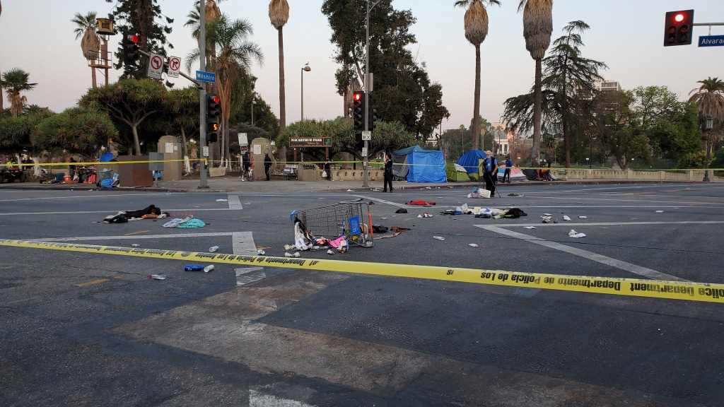LAPD and LAFD paramedics responded to a hit-and-run traffic collision at the intersection of Wilshire Blvd, and Alvarado St. on Aug. 27, 2020.