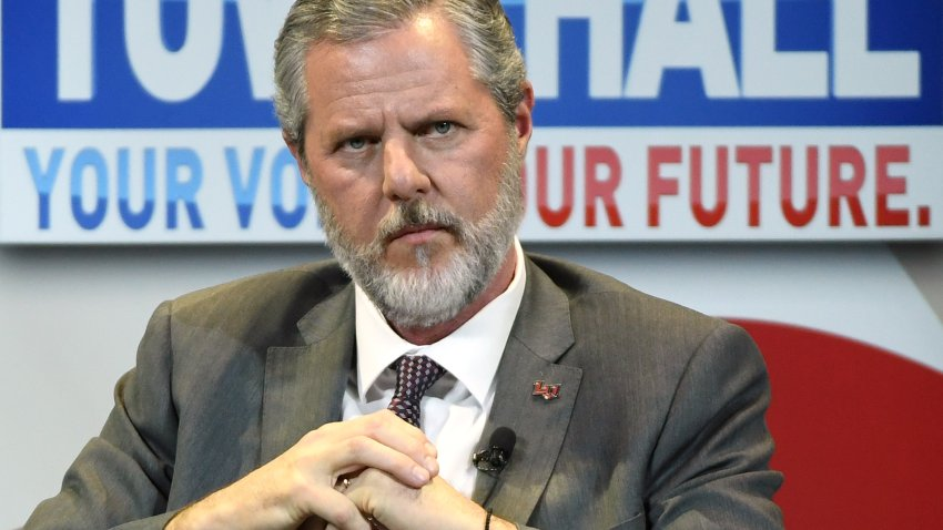 """In this file photo, Liberty University President Jerry Falwell Jr. participates in a town hall meeting on the opioid crisis as part of first lady Melania the first lady's """"Be Best"""" initiative at the Westgate Las Vegas Resort & Casino on March 5, 2019 in Las Vegas, Nevada."""