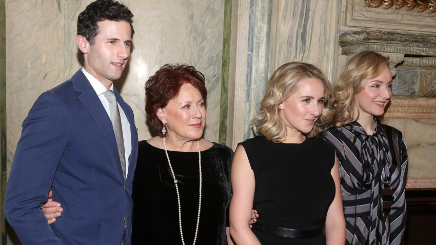 """Roe Hartrampf, Judy Kaye, Jeanna de Waal and Erin Davie pose at a Meet & Greet for the new cast and creative team of the new musical """"Diana"""" on Broadway at The Lotte New York Palace on January 30, 2020 in New York City."""