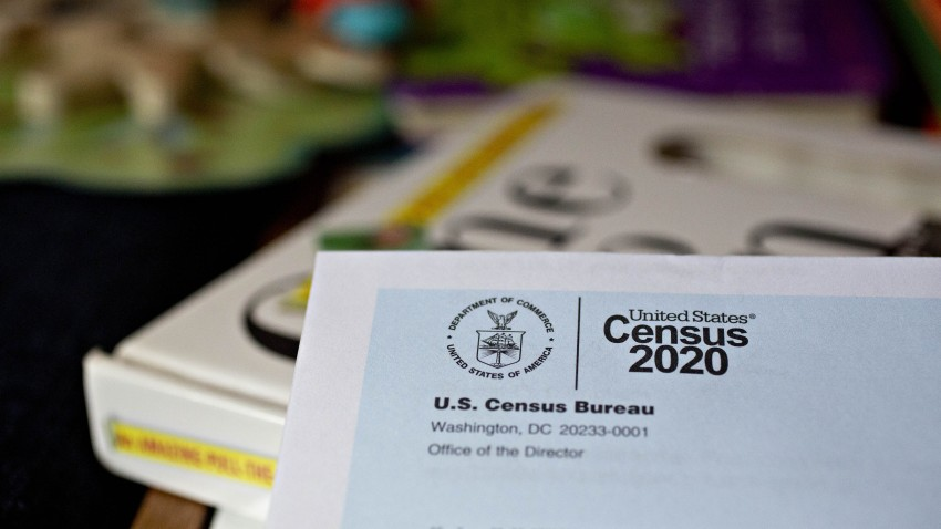 A U.S. Census 2020 invitation is arranged for a photograph in Arlington, Virginia, U.S., on Tuesday, March 24, 2020.