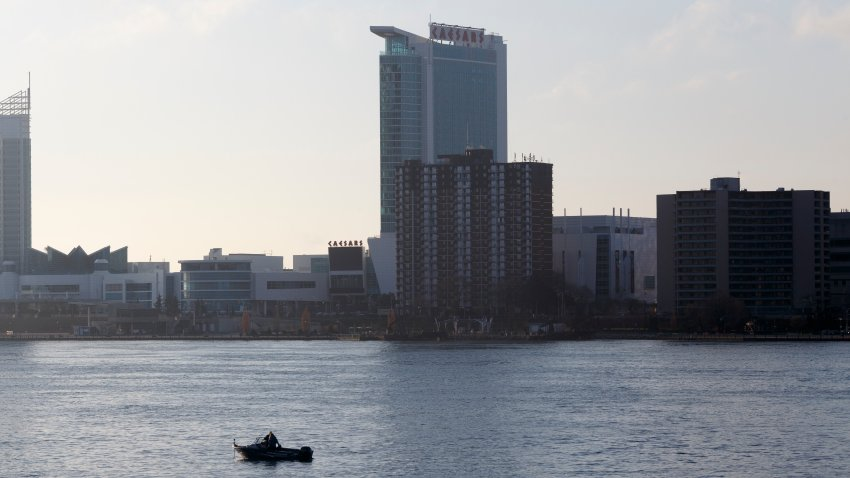 A single boat on the Detroit River across from Windsor, Ontario, Canada on April 8, 2020 in Detroit, Michigan.