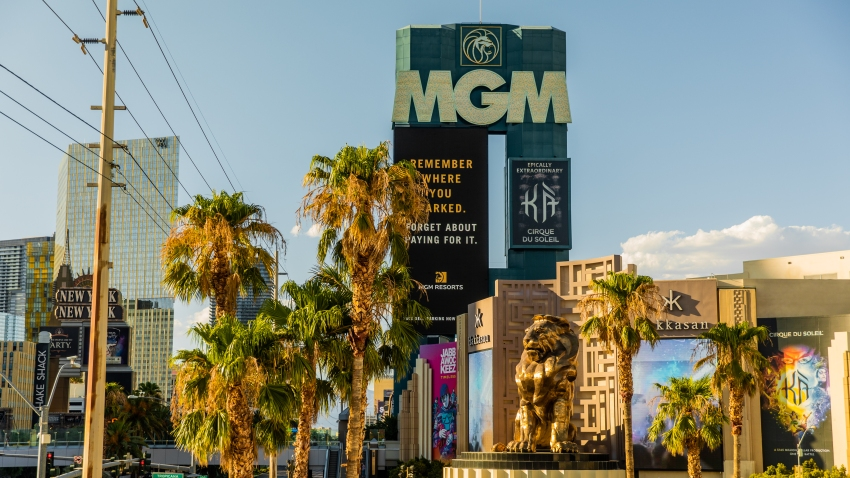 Signage is displayed in front of the MGM Grand Hotel and Casino in Las Vegas, Nevada, U.S., on Sunday, July 26, 2020. MGM Resorts International is scheduled to releasing earnings figures on July 30.
