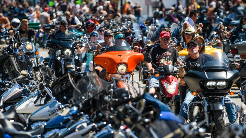 In this Aug. 7, 2020, file photo, motorcyclists ride down Main Street during the 80th Annual Sturgis Motorcycle Rally in Sturgis, South Dakota.