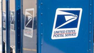 A United States Postal Service (USPS) mailbox.