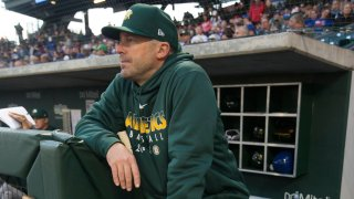 In this Feb. 22, 2019, file photo, bench Coach Ryan Christenson #29 of the Oakland Athletics stands in the dugout prior to the game against the Chicago Cubs at Sloan Park in Mesa, Arizona.