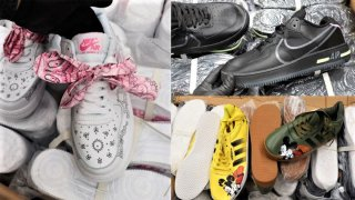 CBP officers seize hundreds of counterfeit shoes.