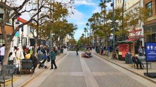 View of the Third Street Promenade in Santa Monica, California.