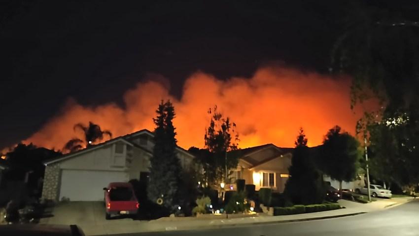 Fire burns in Cherry Valley.