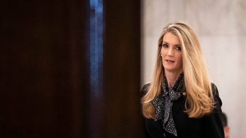 Sen. Kelly Loeffler (R-GA) attends a Senate GOP lunch meeting in the Russell Senate Office Building on Capitol Hill March 20, 2020 in Washington, DC.