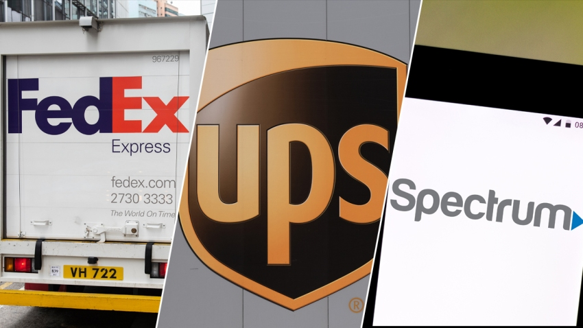 The logos for Fedex, UPS, and Spectrum