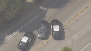 Police pursue a car.