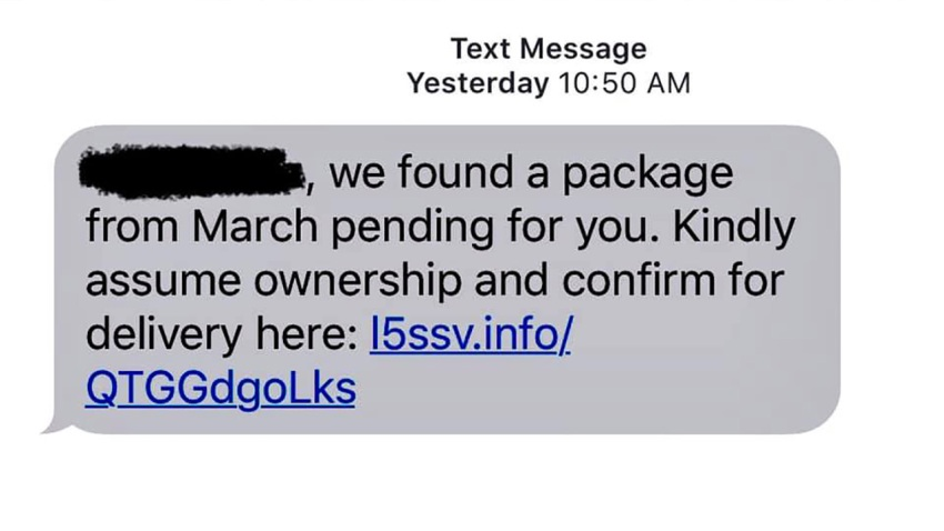 An image showing a text message phishing scam.