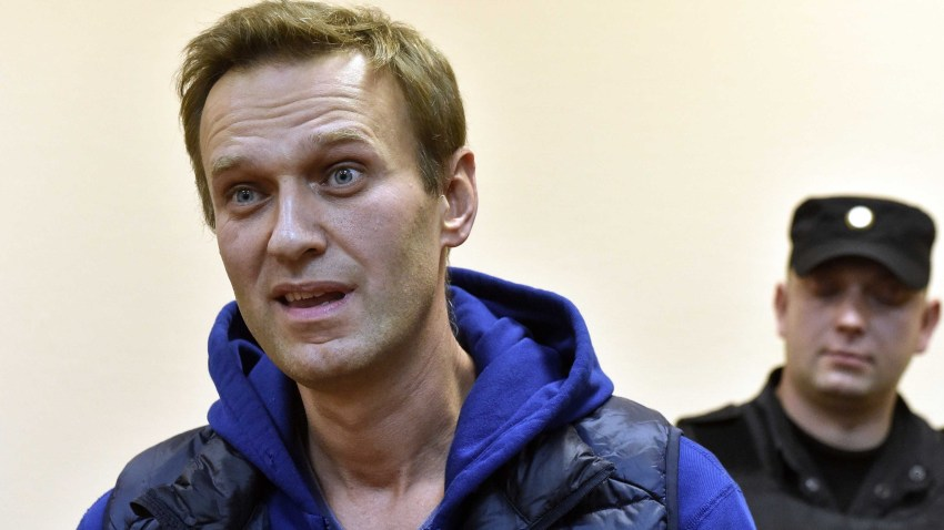 In this Sept. 24, 2018, file photo, Russian opposition leader Alexei Navalny, accused of violating a protest law, attends a hearing at a court in Moscow.