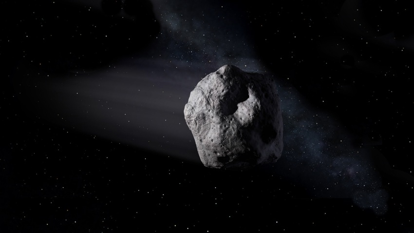 A rendering shows asteroid 2020 SW.