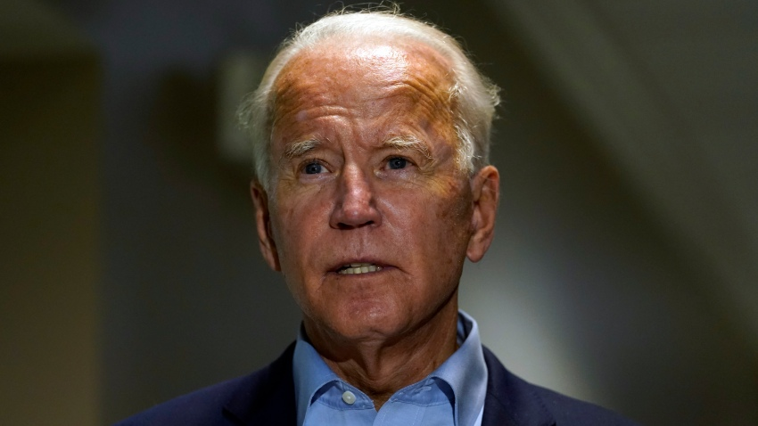 In this Sept. 18, 2020, file photo, Democratic presidential candidate former Vice President Joe Biden speaks about the death of Supreme Court Justice Ruth Bader Ginsburg after he arrives at at New Castle Airport, in New Castle, Del., as he returns from Duluth, Minn.