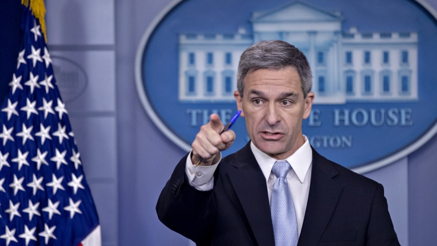 Ken Cuccinelli, acting director of U.S. Citizenship and Immigration Services (USCIS), takes a question while speaking in the White House press briefing room in Washington, D.C., U.S., on Monday, Aug. 12, 2019. The Trump Administration on Monday unveiled a new rule that would enable the government to deny green cards to immigrants who have used or are deemed likely to use government benefits.