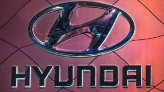 The Hyundai car logo on display during the AutoMobility LA event, at the 2019 Los Angeles Auto Show in Los Angeles, California on November 21, 2019.