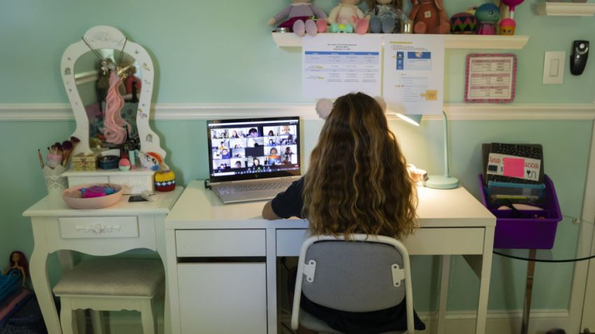 A student attends an online class from home