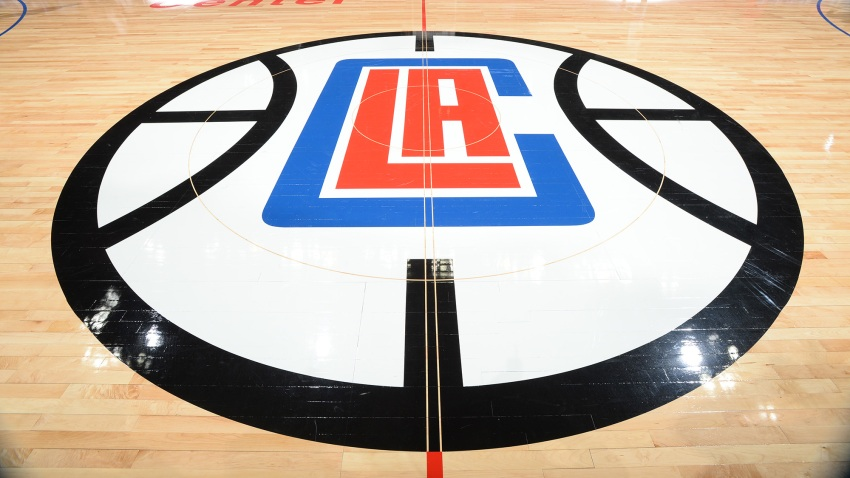 A general view of the Los Angeles Clippers logo on the floor of the Staples Center.
