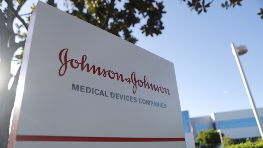 In this Aug. 26, 2019, file photo, a sign is posted at the Johnson & Johnson campus in Irvine, California.