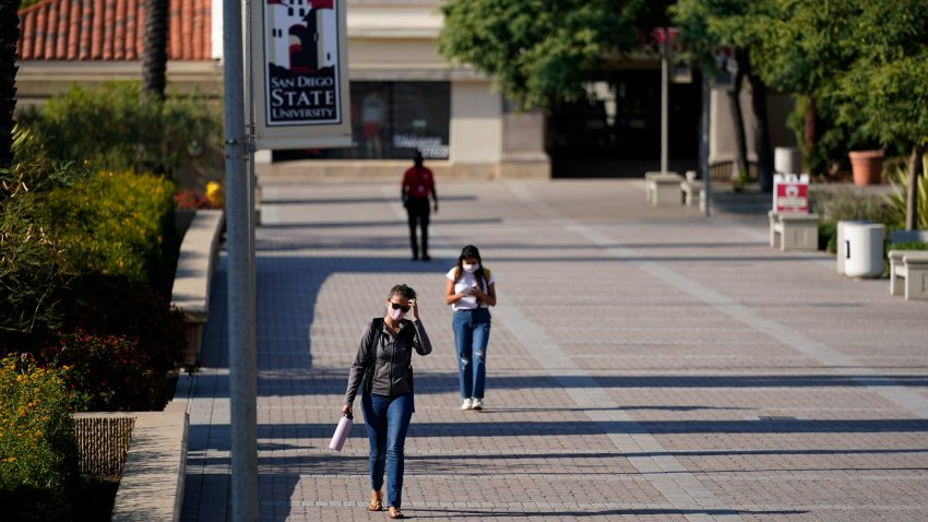 In this Sept. 2, 2020, file photo, people walk on campus at San Diego State University in San Diego.