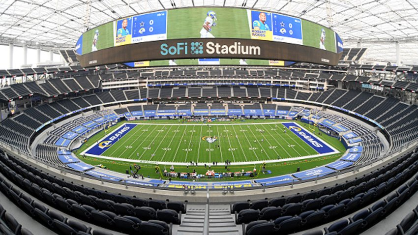 A general view of SoFi Stadium before the game between the Dallas Cowboys and the Los Angeles Rams on Sept. 13, 2020 in Inglewood, California.