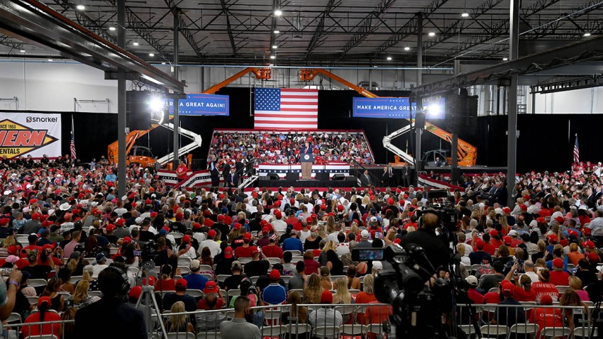 President Donald Trump speaks during a campaign event at Xtreme Manufacturing on Sept. 13, 2020, in Henderson, Nev. Trump's visit comes after Nevada Republicans blamed Democratic Nevada Gov. Steve Sisolak for blocking other events he had planned in the state.