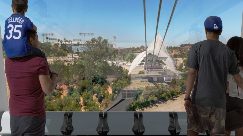 A rendering of the proposed Dodger Stadium aerial transit project.