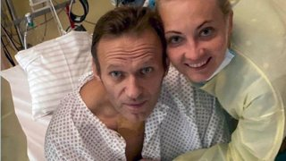 This handout photo published by Russian opposition leader Alexei Navalny on his instagram account shows himself and his wife Yulia posing for a photo in a hospital in Berlin, Germany.