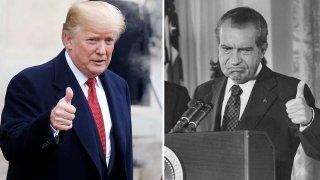Presidents Trump and Nixon.