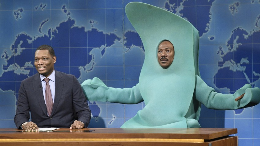 """Michael Che and Eddie Murphy dressed a Gumby during the """"Weekend Update"""" segment on """"SNL."""""""