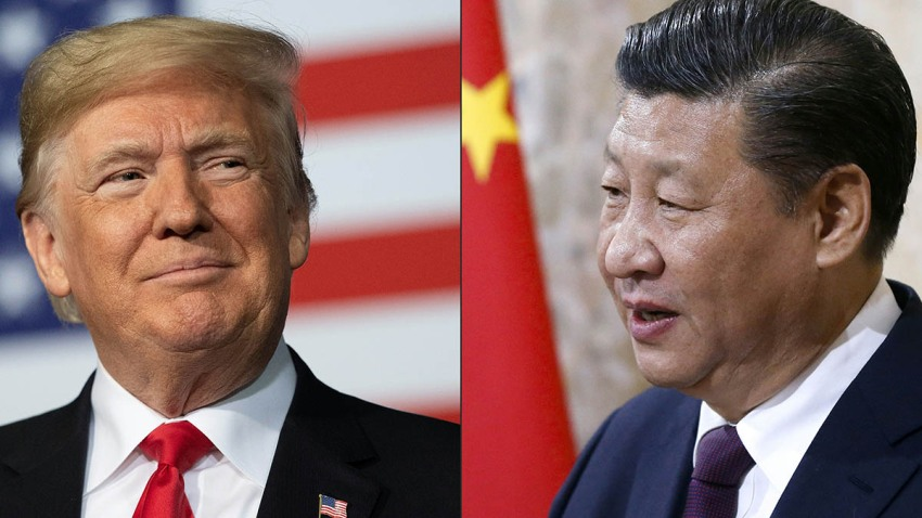 This combination of pictures created on May 14, 2020, shows China's President Xi Jinping (R) and U.S. President Donald Trump.